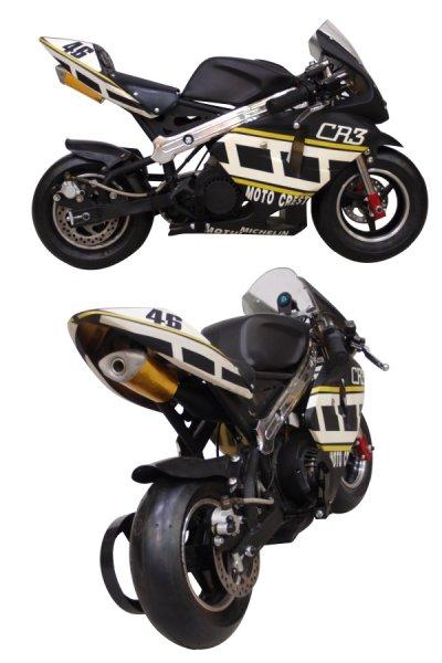 画像3: ☆最速50ccポケットバイク☆GP CREST黒白カラーモデル【各安消耗部品】